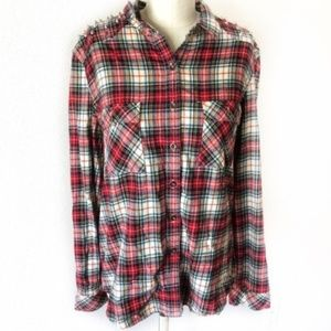 forever 21 Spike Stud Plaid Flannel Button Shirt